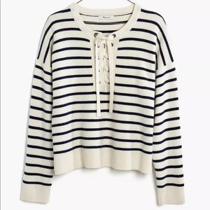Madewell stripped lace up sweater